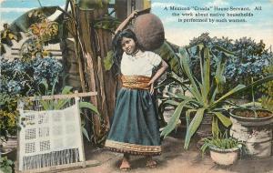 Vintage Postcard A Mexican Criada House Servant with Hand Loom