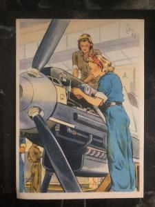 Mint WW2 Postcard Germany Women at War Series making Fighter Planes ME 109