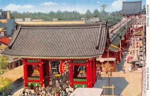 Sensō-ji in Asakusa Tokyo Japan Kaminarimon Gate~Postcard 1950s in Japanese