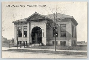 Traverse City Michigan~City Library~Arched Entrance~Houses Behind~c1910 Postcard