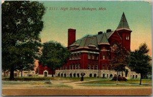 Muskegon, Michigan Postcard HIGH SCHOOL Building View / 1911 Cancel