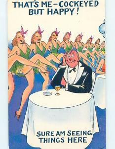 Pre-1980 risque HAPPY MAN SURROUNDED BY SEXY DANCING GIRLS HL4104