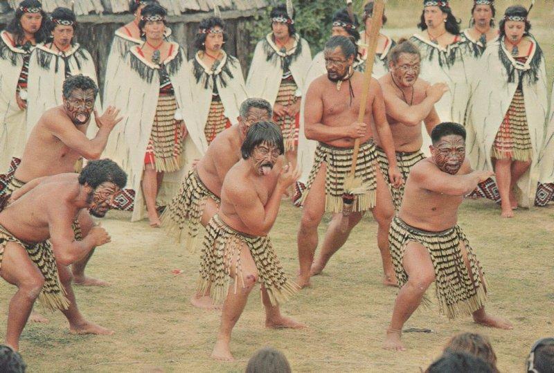 Rotorua Whakarewarewa Maori Warriors Haka Chant New Zealand Postcard