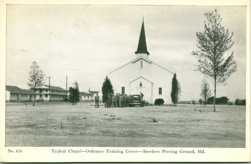 1940s Carte Postale WWII Avec R Thompson & Compagnie Aberdeen Proving Sol Chapel