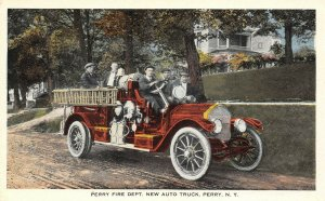 LP80 Perry New York NY Postcard Fire Department Truck