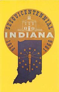 Indiana Sesquicentennial 1816-1966 IN Chrome