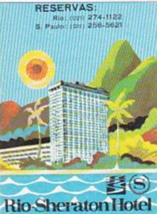 BRASIL RIO DE JANEIRO SHERATON HOTEL VINTAGE LUGGAGE LABEL