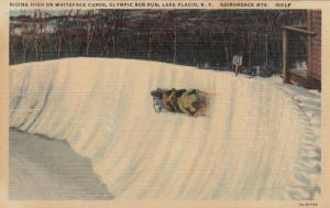 LAKE PLACID, New York, 1930-40s; Riding High on Whiteface Curve, Olympic Bob-Run