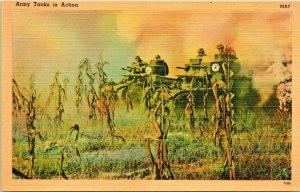 Vtg Lino Cartolina WW2 Army Serbatoi IN Azione Tichnor Militare da Lavoro Serie