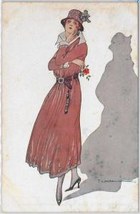 ELEGANT VINTAGE POSTCARD: Glamour, Ladies, Donnine, Artist signed by T. CORBELLA