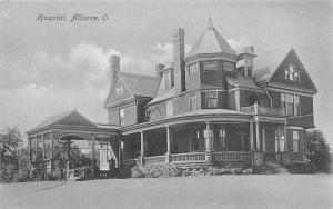 Alliance Ohio~Hospital w/Attached Sunroom B&W c1906 Antram Postcard
