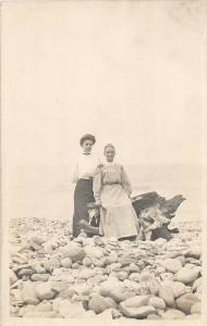 F35/ South Haven Lake Michigan RPPC Postcard On The Shore Women c1910