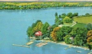 Postcard Aerial View of Clark Lake Yacht Club, Jackson, MI. S3