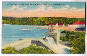 Bathing Beach & Dam, Old Forge NY