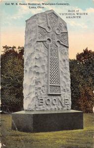 C50/ Lima Ohio Postcard 1917 Col. W. K. Boone Memorial Woodlawn Cemetery Granite