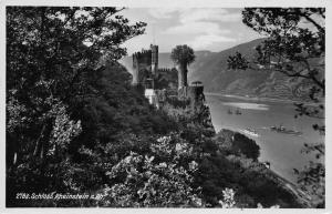 Schloss Rheinstein am Rhein Castle River Boats Bateaux Postcard