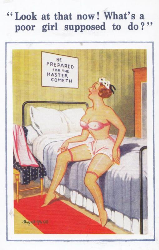 Girl Hotel Room Man Master Cometh Sex Sexy Donald McGill Banned Comic Postcard