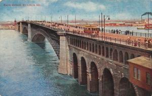 St. Louis Missouri~Trolley on Eads Bridge~Pedestrians Cross River~1908 VO Hammon