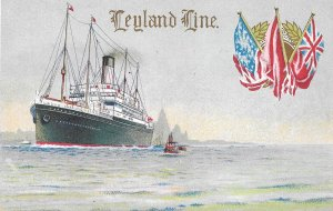 Rare British 1909 Postcard of a, Leyland Line Steamship, Lithograph, Un-named