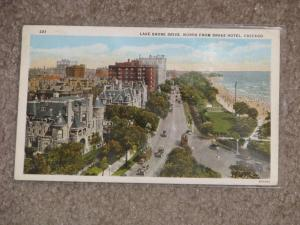 Lake Shore Drive, North from Drake Hotel, Chicago, used vintage card