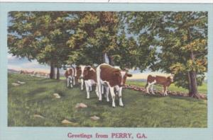 Georgia Greetings From Perry Landscape Scene With Cows