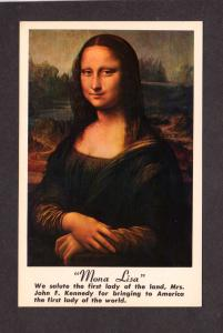 Mona Lisa Painting Art John F Kennedy President Political First Lady Postcard