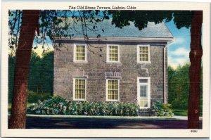 postcard Lisbon Ohio - Old Stone Tavern - exterior view