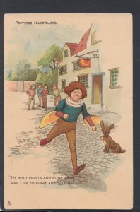 Literature Postcard - Proverbs Illustrated - Boy Running Away - HP1