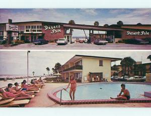 Unused Pre-1980 BIKINI GIRL AT DESERT ISLE MOTEL Daytona Beach Florida FL s6094