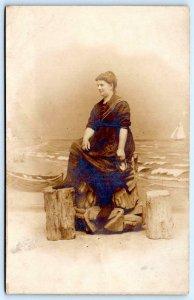 RPPC ALTANTIC CITY HENRY ELLIS STUDIO PHOTOGRAPHER SOUVENIR WOMAN BEACH BOATS