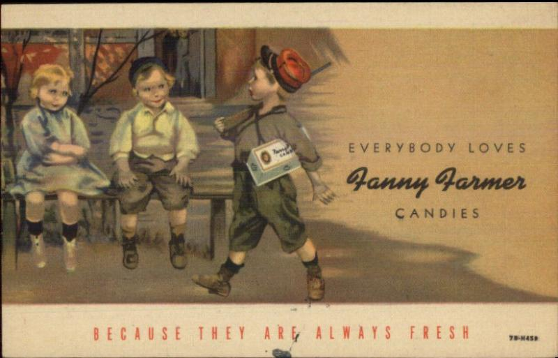Boy Plays Soldier - Fanny Farmer Candy Linen Adv Postcard