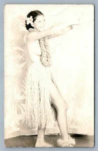 HAWAII HULU DANCER RISQUE ANTIQUE REAL PHOTO POSTCARD RPPC