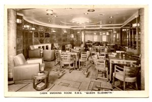 Cunard Line - RMS Queen Elizabeth,  Cabin Class Smoking Room   *RPPC