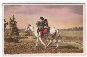 Westward Ho Native American Indians on Horseback Phostint 1910c postcard