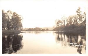 Portland Michigan~Grand River Scene~Trees Reflected in Water~1950 RPPC Postcard