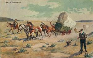 Artist Impression C-1910 Cowboy Western Innes horses postcard 3924