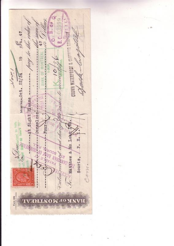 Cancelled Cheque with Canadian Postage Stamp, Bank of Montreal, crown Waterpr...