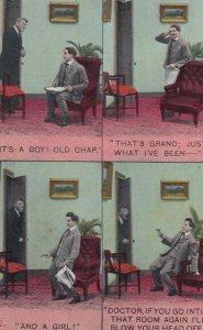 Man pulls gun on Doctor announcing babies , 1900-10s