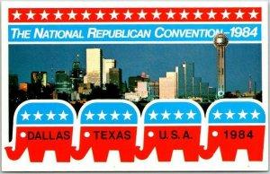 1984 REPUBLICAN NATIONAL CONVENTION Postcard Dallas, Texas / Skyline View Unused