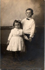 Young Boy Sister Dressed Up Vintage Real Photo Postcard Standard View Card