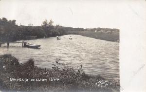 Alton Iowa~Rowboating Along Floyd River~Minn & C Bluffs RPO Cancel~1907 RPPC