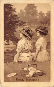 Victorian Ladies Comic Pun~Bank Interest~Girls on Shore Watch Couple~Big Hats