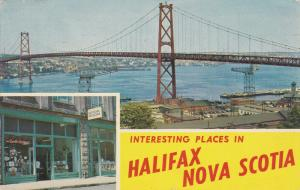HALIFAX , Nova Scotia , PU-1970; Angus L. Macdonald Bridge & The Book Room store