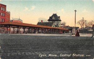 G45/ Lynn Massachusetts Postcard 1915 Central  Railroad Depot  2