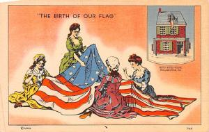 Patriotic Post Card Old Vintage Antique Postcard Birth of Our Flag, Betsy Ros...