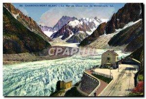 Old Postcard Chamonix La Mer De Glace Montenvers From View