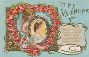 TO MY VALENTINE, PU-1909; Cupid holding woman's profile picture, poppies heart