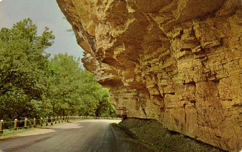 MO - Noel. Overhanging Bluffs on The Prize Drive of the Ozarks along the El...