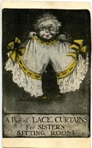Humor - A pair of laced curtains (card has been trimmed)