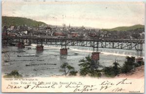 Beaver Falls, PA Postcard View of Falls & City Bridge Glitter Rotograph 1906